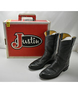 Vintage Justin Grey Leather Cowboy Boots-Women's Western Boots 7.5A Orig... - $48.41