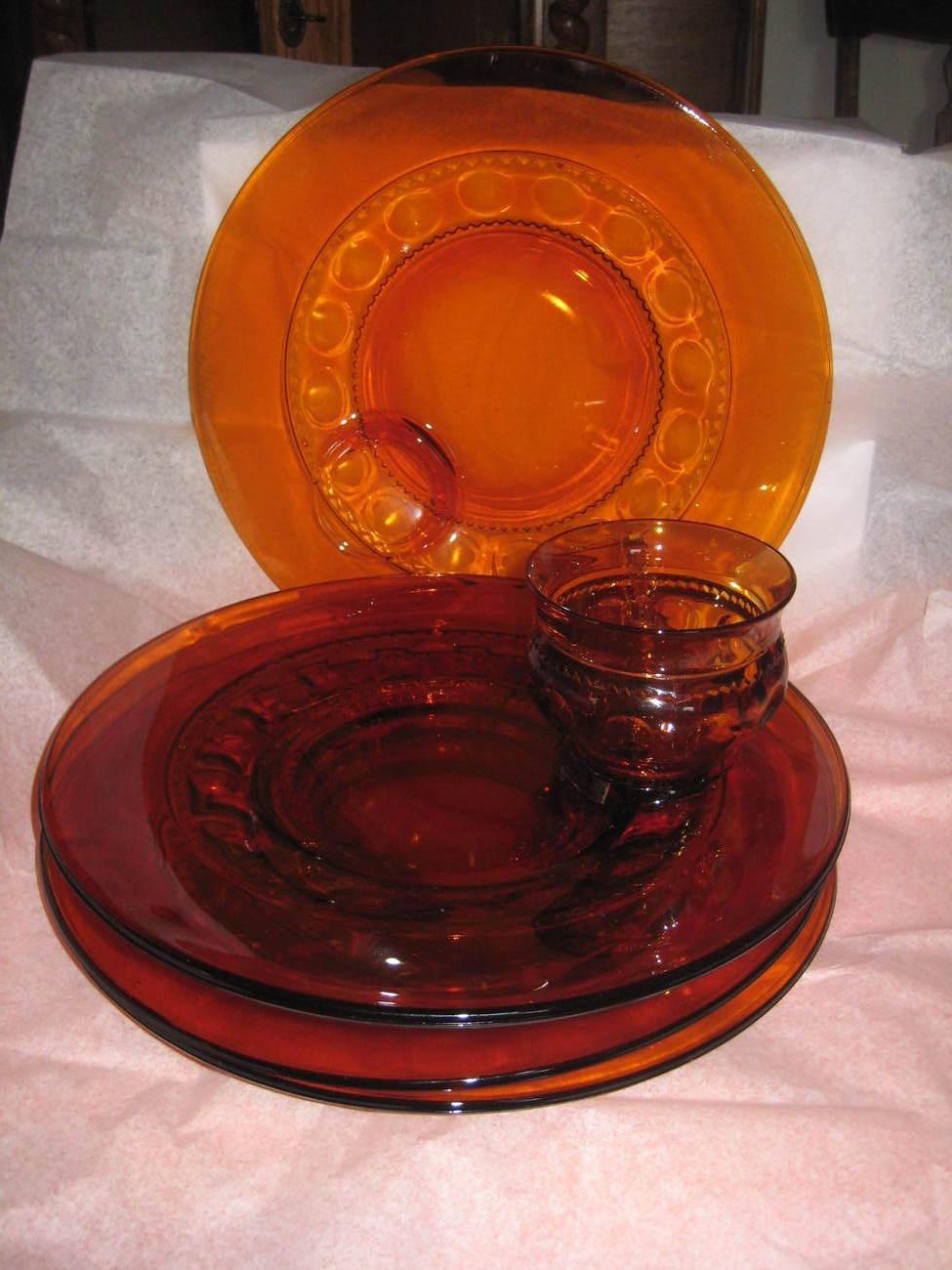King Crown Dark Amber Snack Set, Circa 1955 to 1975