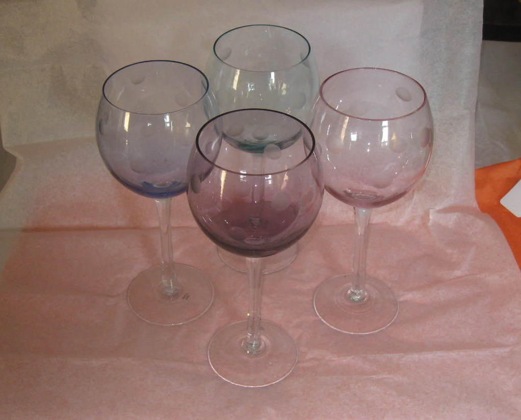 Tinted, glass,stemmed wine goblet set of Three, thumb print