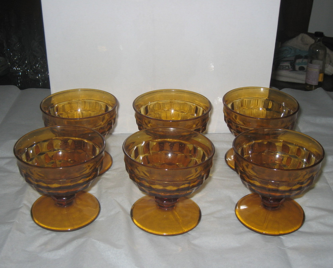 Whitehall Set of six amber stacked cube sherbert dishes, circa 1960's