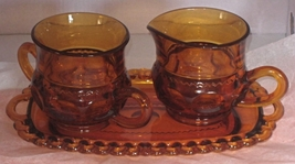 3 piece Kings Crown Thumb Print Cream and Suger set with tray, circa 1955 - $32.95