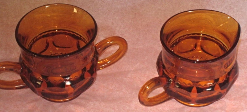 3 piece Kings Crown Thumb Print Cream and Suger set with tray, circa 1955
