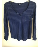 Lucky Brand Womens SMALL Indigo Blue Long Sleeve Roll Tab Shirt Blouse - $9.89