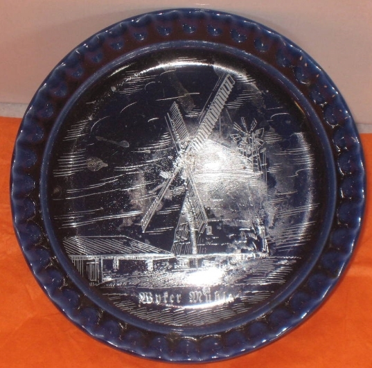 Blue Porecelin Ashtray with white painted windmill