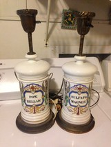 Antique Pair Of Apothecary Pharmacists/Pharmacy Milky White  Bottle Lamps - $188.09