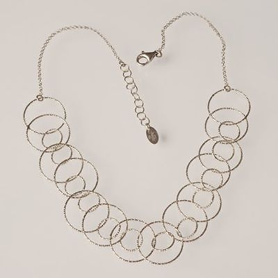 SILVER 925 NECKLACE RHODIUM WITH CIRCLES WORKED BY MARY JANE IELPO MADE IN ITALY