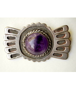 1930's Mexico Silver Brooch Pin with Large Amet... - $85.00