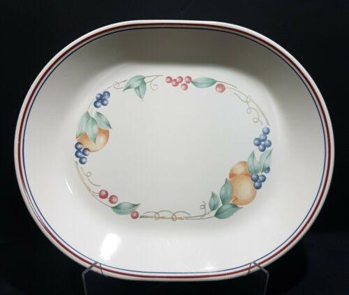 """Vintagr Corelle Abundance Oval Serving Platter 12.25"""" Fruit Pattern - $9.47"""