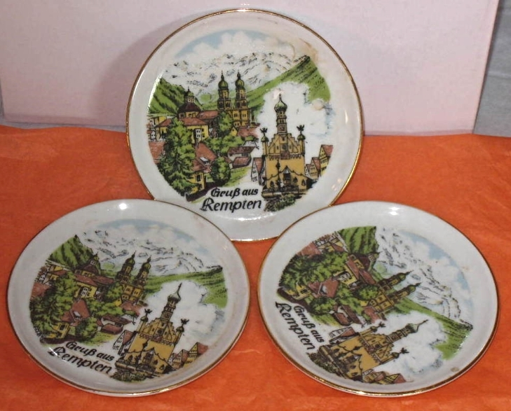 SET of  3 scenic porcelain plates or coasters made in Germany