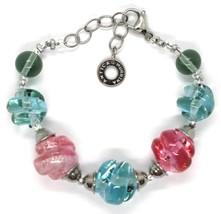 Bracelet Antica Murrina Venezia, Murano, Spheres Spiral,Pink,Light Blue image 2