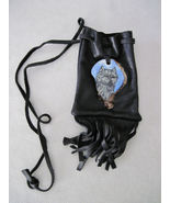 Painted antler Wolf medicine pouch - $20.00