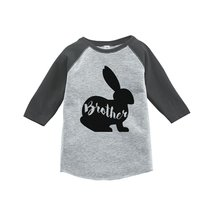 Custom Party Shop Baby Boy's Brother Bunny Happy Easter Grey Raglan 5T - $20.58