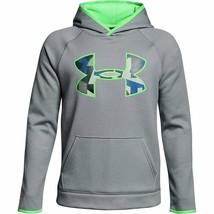 Under Armour Boy's Fleece Big Logo Hoodie Gray/Green XS 1299342-036 - $45.99