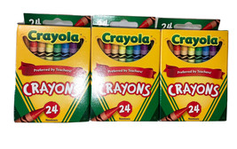 Crayola Crayons 24 Count Box Set of 3 Paper Assorted Colors Nontoxic Colorful - $12.88