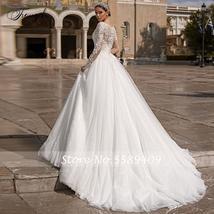 Luxury V Neck A Line Lace Wedding Dress Shiny Applique Beading Long Sleeve Plus  image 2