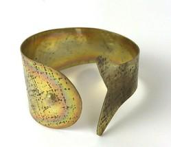 Vintage Cuff Bracelet Brass Textured Fish Whale Nautical Mod 70s - $29.69