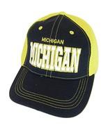 Michigan Solid Front Air Mesh Back Adjustable Baseball Cap (Navy/Gold) - $12.95
