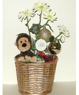 Christmas Basket Bobble Head Plush Monkey Flowe... - $13.00