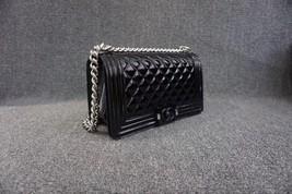 100% AUTH Chanel Le Boy Black Patent Leather Plexiglass Medium Quilted Flap Bag  image 3