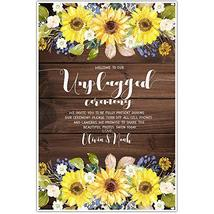 Sunflowers Unplugged Wedding Ceremony Sign Poster - $12.38