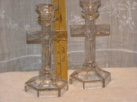 Vintage Glass Crucifix Candlestick Pair Set Depression Era Alter Set 192... - $99.65