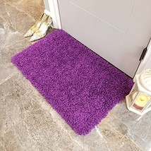 Shag Door Mat | Plain Solid Purple Shag Doormat Rugs for Living Room Bed... - $18.76