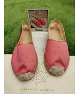 New Auth Charlotte Olympia Trendy Red Silk Satin Espadrilles Size37 US6.... - $210.28