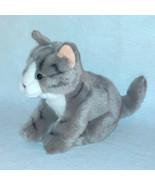 2015 Toys R Us Gray Tabby Cat Black Stripes Blue Eyes Pink Nose Plush To... - $19.80