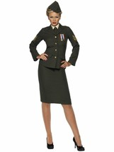 Smiffys Wartme Officer Army Military Green Adult Womens Halloween Costum... - $50.24