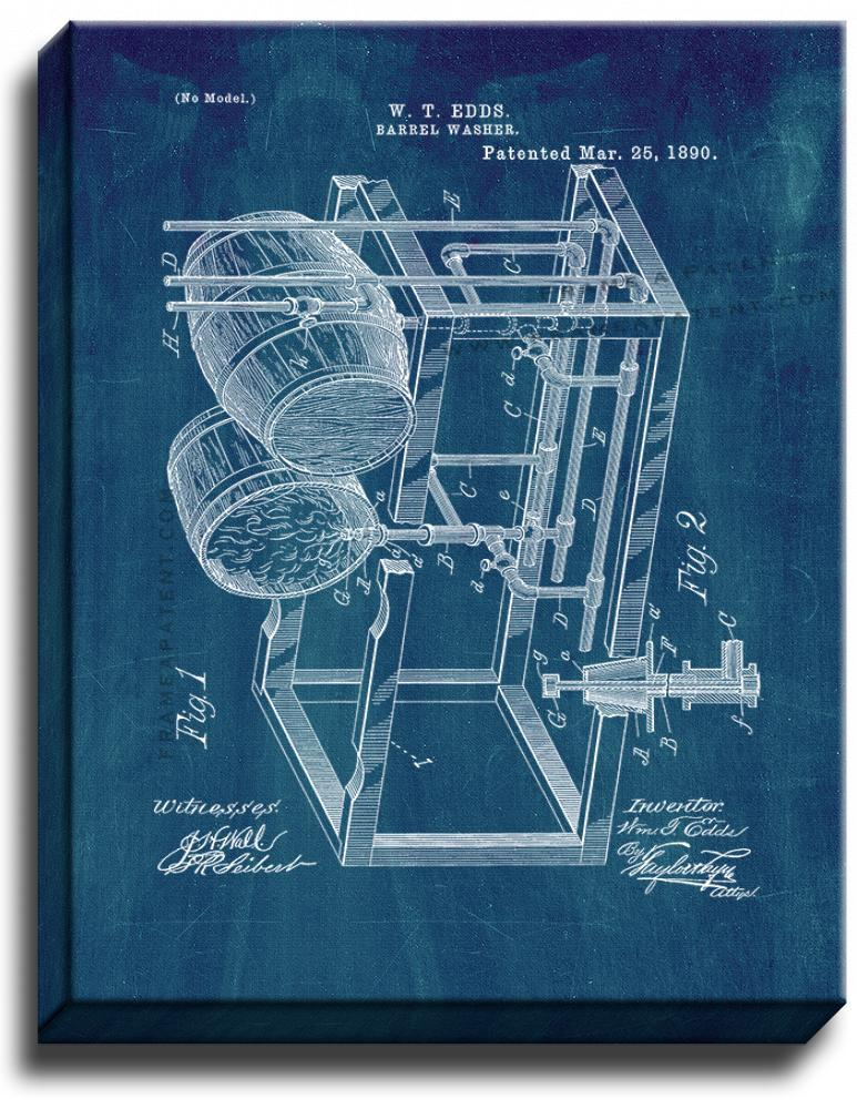 Primary image for Barrel Washer Patent Print Midnight Blue on Canvas