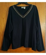 Sunrise Cove Woman Solid Black with Gold Sequin Jersey Style 2X Long Sle... - $9.90