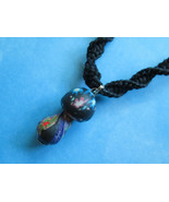 Handmade Black Hemp Necklace with Awesome Fimo Clay Mushroom Pendant - $17.00