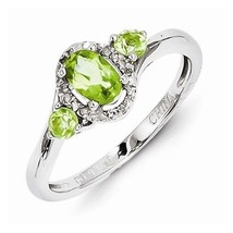 STERLING SILVER NATURAL GENUINE 0.7CT GREEN PERIDOT & DIAMOND RING - SIZE 7 - $78.66