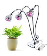 LED Plant Grow Light Three-Head 15W Clip Desk Grow Lamp With 360 Degree ... - £34.32 GBP