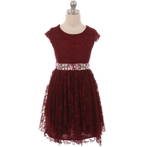Burgundy Short Sleeve Floral Lace Asymmetric Ruffles Rhinestones Belt Girl Dress - $29.99+
