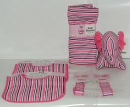 Baby Ganz Girl Pink Black White Stripped Matching Gift Set image 1