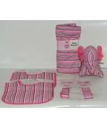 Baby Ganz Girl Pink Black White Stripped Matching Gift Set - $33.99