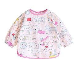 (Pink Animals) Kid's Waterproof Feeding Bib Painting Smock, 6-12 Months