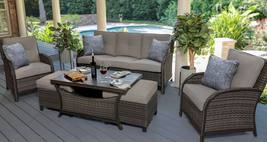 Luxury Outdoor Wicker Sofa Chat Seating Set Outdoor Patio Furniture Sunb... - £1,319.41 GBP