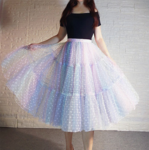 Women Girl Rainbow Long Tulle Skirt Polka Dot Rainbow Skirt Holiday Skirt Outfit image 8