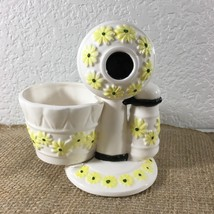 Vtg Rubens Japan Telephone Ceramic Planter White Hand Painted Yellow Dai... - ₹1,172.07 INR