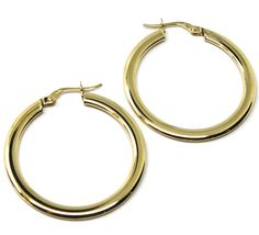 18K YELLOW GOLD CIRCLE HOOPS 3x1mm, EARRINGS 30mm, DOUBLE FACE SMOOTH & SATIN image 3