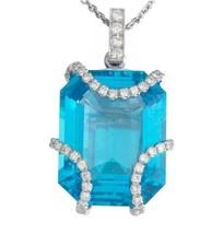 ELI FREI F VS 2.70ct Diamond 18K Gold Blue Topaz Gemstone Necklace Pendant - €2.382,05 EUR