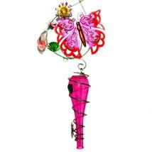 Painted Metal & Glass Pink Butterfly Garden Hanging Hummingbird Nectar Feeder image 2