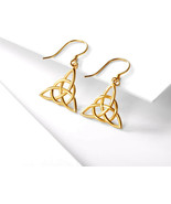 Gold Plated Sterling Silver Good Luck Irish Celtic Knot Triangle Dangle ... - $37.12