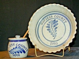 Daviess County Westerwald Stoneware Honey Jar & Pie Plate AA-191830 image 2