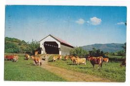 Covered Bridge Cow Field E Gates Farm Cambridge VT Vintage Postcard - $4.99