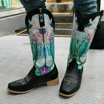 Women Print Mid Calf Boots Woman Western Long Boots Ladies Retro Leather Low ... - $67.20+