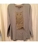 Hanes Womens Gray Graphic T-Shirt Long Sleeve Owl Glittery V Neck XXL - $11.30