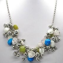 Silver 925 Necklace, Pink Quartz, Turquoise, Jasper, Balls Pendants, Wat... - $187.65